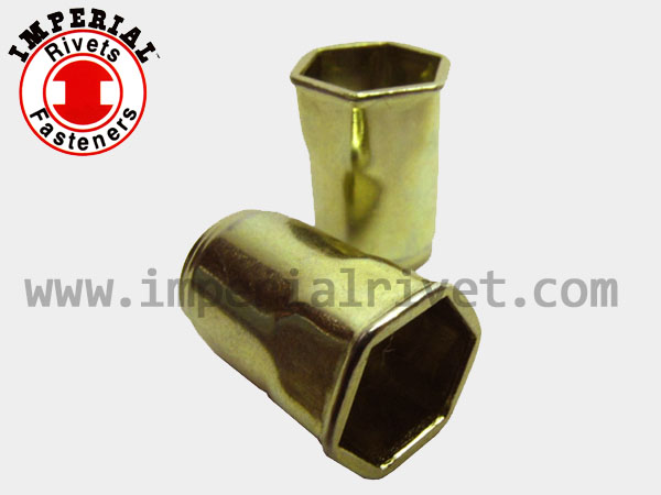 Half-hexagon W. Small Flange Rivet Nut, Open End HSM, HSI