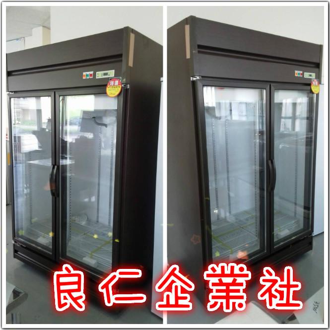 營業用雙門玻璃冰箱(貼原木皮)